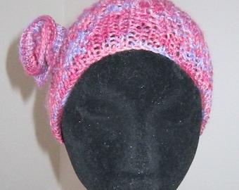 Wide Pink Knit Headband,  / Yoga Bandana with Motif / Pink Hairband