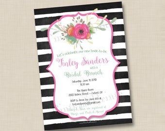 Little Flourish and Bold Stripes Custom Bridal or Baby Shower Invitation Design or any occasion