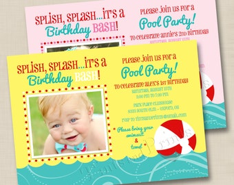 It's a Pool Party Custom Boy or Girl Birthday Party Photo Invitation Design - any age
