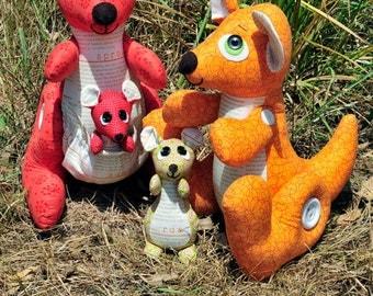 Shazza & Bazza Kangaroo Softie Toy Cute Boys Girl - Sewing PATTERN - Fabrics4u2