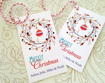 Personalized Christmas Gift Tags, Holiday Tags, Set of 20