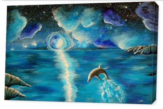 LE Deep Canvas Wrap Giclee Print of Original Painting Water Dance Amber Elizabeth Lamoreaux Dolphin Ocean Water Turquoise Night Stars Moon