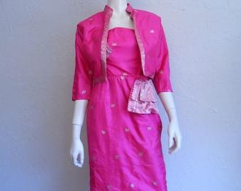 A Night Out in Mumbai - Vintage 1950s Fuchsia Pink Silk Sari Inspired Wiggle Dress w/Matching Bolero