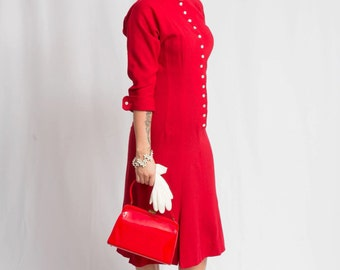 Heavenly Red Kisses - Vintage Late 1940s True Red Wool New Look Secretary Dress w/Buckle Collar - 8/10