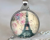 Springtime in Paris pendant, Paris necklace, resin pendant, Paris jewelry, Eiffel Tower pendant, Paris travel pendant keychain key chain