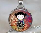 Kokeshi Doll pendant, Kokeshi necklace, Japanese jewelry, burgundy wine ethnic doll charm, Kokeshi keychain key chain