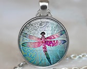 Lace Dragonfly pendant, dragonfly necklace, dragonfly jewelry, dragonfly jewellery, dragonfly key chain, keychain key fob
