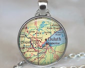 Duluth, Minnesota map pendant Duluth map necklace Duluth pendant, Duluth necklace Duluth keychain key chain key fob key ring