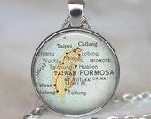 Taiwan map pendant, Taiwan map necklace, Taiwan necklace, Taiwan pendant, map jewelry, map jewellery Taiwan keychain key chain