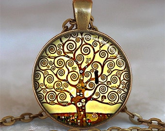 Klimt Tree of Life pendant, tree necklace Gustav Klimt art jewelry, symbolic jewelry tree of life pendant tree of life necklace keychain
