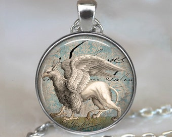 Snow Griffin pendant, griffin necklace resin pendant, Griffin jewelry, EverQuest, magic jewellery magical creature keychain key chain