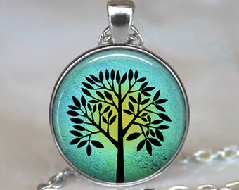 Sun & Turquoise Tree pendant, tree necklace, tree pendant resin pendant, tree jewelry, resin jewelry, tree keychain key chain key fob