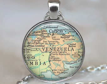 Venezuela map pendant, Venezuela map necklace, Venezuela pendant, Venezuela necklace, map jewelry keychain key chain key ring