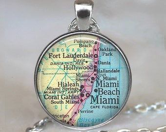 Miami map pendant, Miami pendant, Ft Lauderdale, Miami Beach, Hialeah, Coral Gables, Miami map necklace keychain key chain