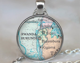 Burundi, Rwanda map pendant, Burundi map pendant Rwanda map necklace Burundi map necklace Rwanda pendant adoption jewelry