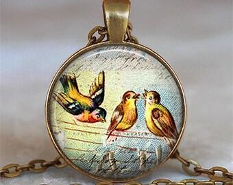 Three Feathered Friends pendant, songbird necklace, friendship pendant, friendship jewelry resin pendant keychain