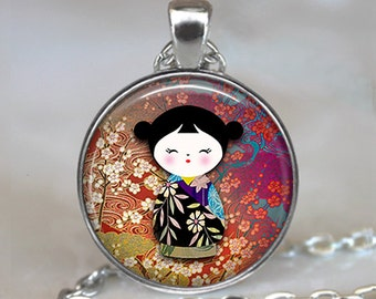 Kokeshi Doll pendant, Kokeshi necklace, Japanese jewelry, burgundy wine ethnic doll charm, Kokeshi keychain key chain