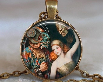 Masquerade vintage art pendant Mardi Gras pendant Carnival jewelry masked lovers dancers pendant keychain key fob