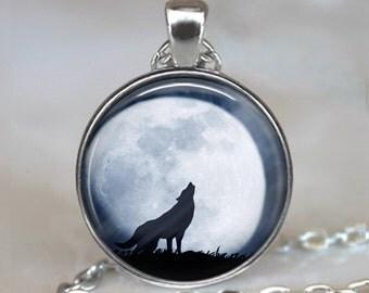 Wolf Moon necklace, wolf moon pendant full moon jewelry wolf jewelry wolf necklace wolf pendant wolf keychain key fob