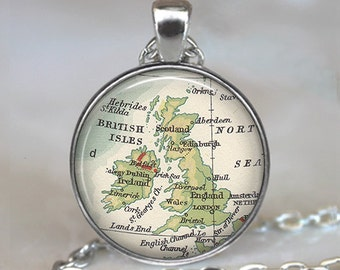 British Isles map necklace, England map pendant, Great Britain map pendant, England map necklace keychain key chain