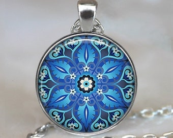 Ornate Blue art pendant, blue Moroccan tile necklace turquoise Moroccan tile design ornate tile necklace key chain key chain