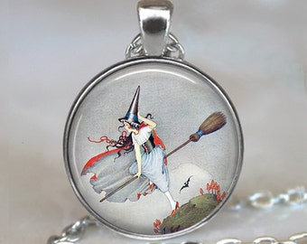 Broom Ride pendant, witch necklace, witch pendant, witch jewelry, Samhain jewelry, Halloween pendant, Halloween jewelry keychain