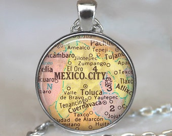 Mexico City map necklace, Mexico City necklace, Mexico City map pendant, Mexico City pendant vintage map jewelry keychain key chain