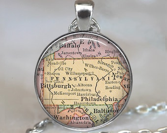 Pennsylvania map pendant, Pennsylvania pendant, state map jewelry, Pennsylvania map necklace, Pennsylvania keychain key chain