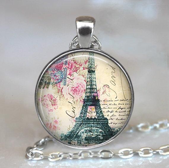 Springtime in Paris pendant, Paris necklace, resin pendant, Paris jewelry, Eiffel Tower pendant, Paris travel pendant keychain key chain