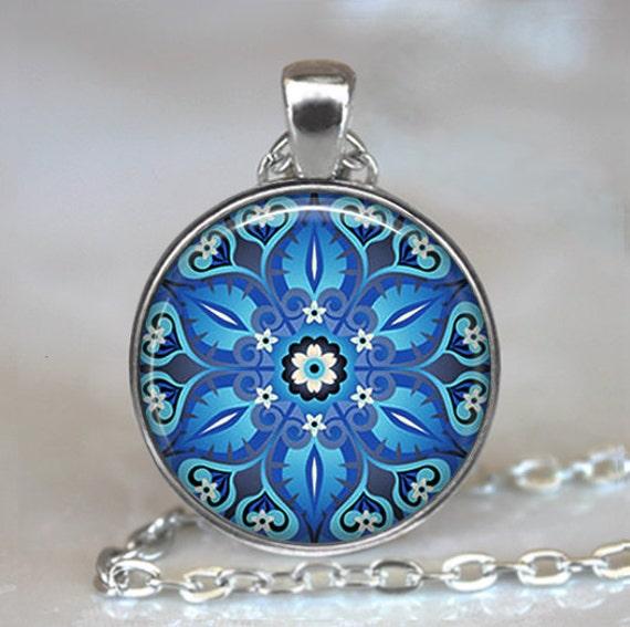 Ornate Blue art pendant, blue Moroccan tile necklace turquoise Moroccan tile design ornate tile necklace key chain key chain