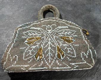 Czech Beaded BAG Wasp Design 1920s Gorgeous Glass Beads Hand Beaded Wasp Insect Design Czechoslovakia Hand Beaded Wasp Evening Bag (F4)