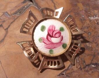 Guilloche Enamel Brooch VINTAGE Pink Rose Guilloche Pin ROSE Gold Filigree Enamel Cloisonne Rose Flower Ready to Wear Vintage Jewelry (Y61)
