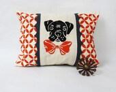 Hand Printed Burnt Orange Geometric Kidney Pillow with Black Hand Block Printed Boxer Dog & Charcoal Grey Felt Trim