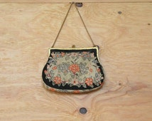 Vintage 20's Purse Needle Point Tapestry Construction With Brass Chain And Deep Colors