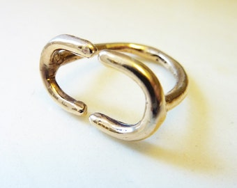 Double Arch Ring, Cast Bronze or Sterling Silver, Gold Ring, Horseshoe Protection Symbol, U Shape, Everyday Jewelry