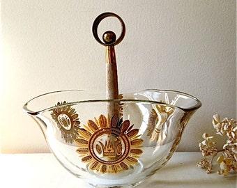 Vintage Glass Bowl with Wood Handle, George Briard, Regalia Pattern, MCM, ON SALE