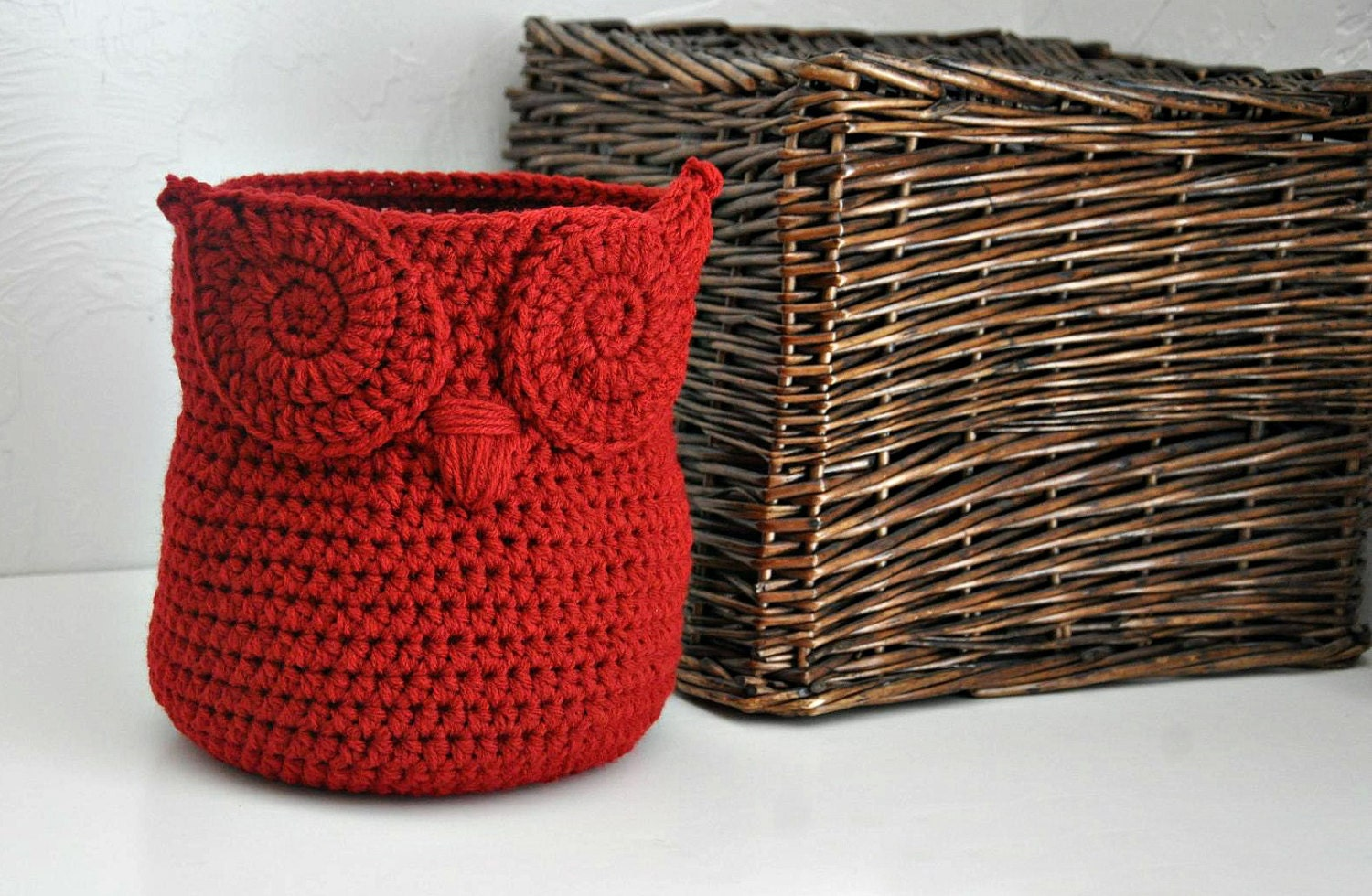 Red Owl Basket Crocheted Bin Yarn Holder by AandBDesignStudio