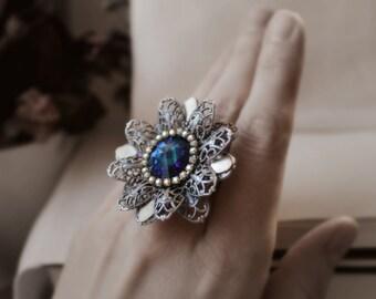 Dahlia Silver Swarovski Ring - Blue - Gold - Flower - Boho Chic - Unique - Wedding - Bridal - Holidays - December - Christmas