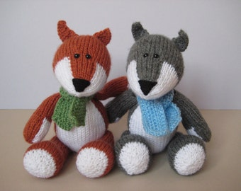 Knitting Patterns For Toys On Etsy : Todd Fox and Ralf Wolf toy knitting patterns