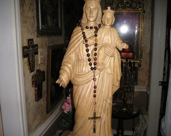 """Awesome Vintage Salvaged Santos/ Virgin Mary/Madonna&Child 32"""" Wood Carved Monastery Statue Religious Church Icon"""