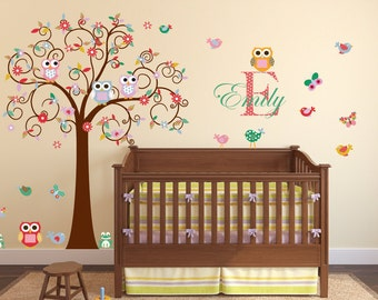 Children wall decal tree - Vinyl tree decal - tree decal - Swirl tree decal- Nursery tree -  Swirl Tree Decal - Nursery Wall Decal - Girl