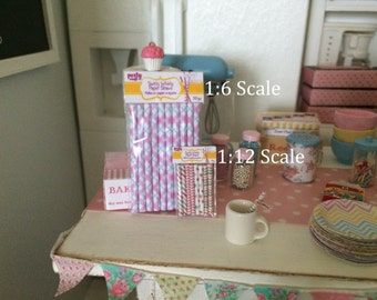 PAPER PARTY STRAWS - Choose 1/12 or 1:6 Scale Miniature
