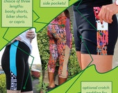 Duathlon Shorts - PDF sewing pattern for exercise wear - Booty Shorts, Biker shorts, or Capri leggings with hidden pockets!