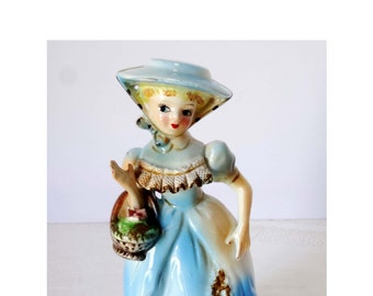 Victorian Lady with a Flower Basket Japan Porcelain Figurine Blue Dress Victorian Figurine Gold Leaf Home and Garden Collectibles Figurines