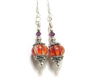 Clemson Earrings, Tiger Striped Orange, Purple Swarovski Crystal, Multiple Earrings Available, Orange and Purple Earrings, Sorority Gift
