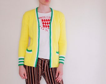 Vintage 60's tennis cardigan, bright lemon yellow, green & white trim, pockets - Small