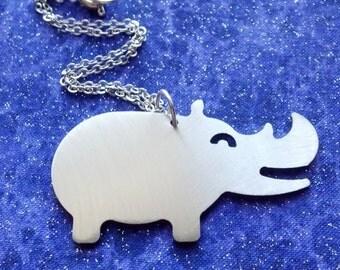 Happy Rhino - Necklace Pendant or Keychain