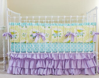 Lavender Mockingbird Custom Baby Bedding Set, Aqua and Lavender Baby Girl Bedding