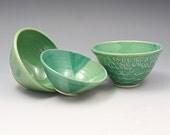3 Jade Green Mini Ceramic Prep or Trinket Bowls