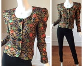 Vintage 1980s Kathryn Conover Brocaded Peplum Jacket // Vintage Cocktail Jacket// Edwardian style Bolero